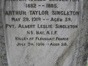 Albert Leslie Singleton.jpg Albert Leslie Singleton memorial plaque, Orange Cemetery. Image courtesy Orange Cemetery.