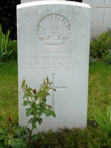 Basil Nicholl's Headstone, Merville Communal Cemetery France. Image courtesy Sharon Hesse.