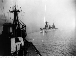 HMAS Australia at sea, followed by HMS New Zealand. Image courtesy Australian War Memorial.