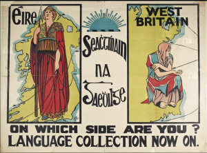 Gaelic League poster promoting the idea of a proud independent Eire, Frances Georgiana Chenevix Trench, 1913. Image in public domain.