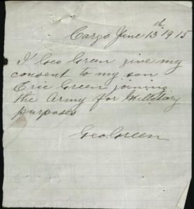George Green's consent for his son Eric to enlist. Image courtesy National Archives of Australia.