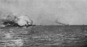 HMS Invincible explodes after being struck by shells from Lutzow and Derfflinger in the Battle of Jutland, 31 May 1916.