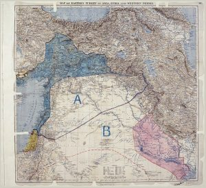 Sykes Picot Agreement Map. Image courtesy The National Archives (United Kingdom).