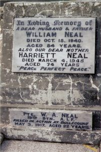 William Arthur Neal memorial plaque, Orange Cemetery. Image courtesy ancestry.com
