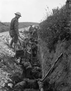 British troops waiting in a support trench shortly before zero hour, Beaumont Hamel, Battle of the Somme, 1 July 1916. Image courtesy Imperial War Museum ©IWM (Q 64).