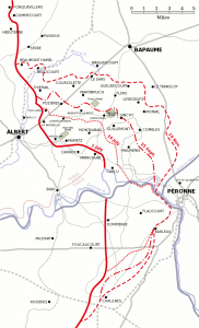 Map of the Somme battlefield, 1916, showing the frontline before the three major offensives of 1 & 14 July and 15 September as well as the final frontline at the end of the battle of 18 November. Image in public domain.