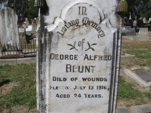 George Alfred Blunt commemorative headstone, Orange Cemetery. Image courtesy Orange Cemetery.