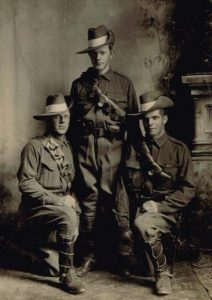 George Gladstone McDonald (centre) with mates Jim Kenny (left) and George Hills (right). Image courtesy Vera Pickford.