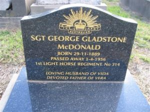 George Gladstone McDonald's headstone, Orange Cemetery. Image courtesy Orange Cemetery.