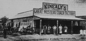 Michael Kinealy's Great Western Coachworks in 1899, where Bill Johnson completed his apprenticeship. Image courtesy Orange City Library.
