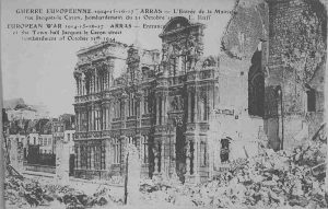 Arras Town Hall after many bombardments. Image courtesy Richard Laughton.