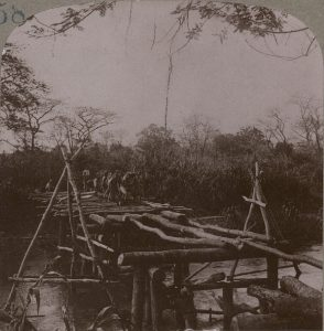 Bridge costruction over the Mgeta River in German East Africa. Image in public domain.