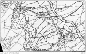 Map of Pozieres and Mouquet Farm district. Image courtesy Australian War Memorial.