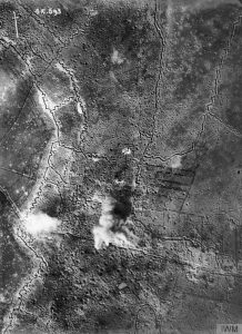 Aerial photograph of Thiepval under bombardment, September 1916. Image courtesy Imaperial War Museum © IWM (HU 91109).