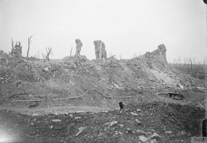 Ruins of Martinpuich Church, Courcelette, September 1916.Image courtesy Imperial War Museum © IWM (Q 4351).