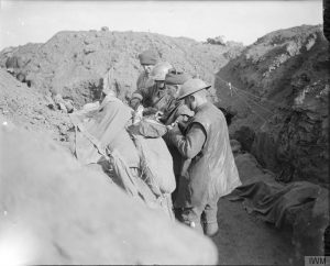 British troops having a dinner in a front line trench, Eaucourt l'Abbaye, October 1916, John Warwick Brooke. Image courtesy Imperial War Museum © IWM (Q 4388).