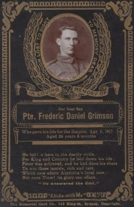 Frederick Daniel Grimson memorial card. Image courtesy WE Agland RSL MBE Memorial Museum, Orange.