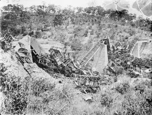 The destroyed Ngeri-Ngeri Bridge on the Central Railway, German East Africa. Image courtesy Imperial War Museum © IWM (Q 15595).