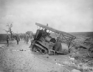 Hold Caterpillar Tractor sunk in the mud on the Somme, October 1916, John Warwick Brooke. Image courtesy Imperial War Museum © IWM Q 4423.