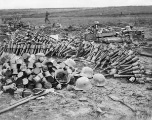 Bombs, steel helmets and other stores left behind by German troops driven out of St Pierre Divion, John Warwick Brooke, 13 November 1916. Image courtesy Imperial War Museum © IWM (Q 4586).