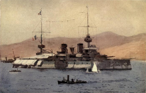 French battleship Suffren off the Dardanelles in 1915. Image courtesy The Dardanelles: Colour Sketches from Gallipoli