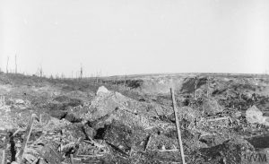 The ruined village of Beaumont Hamel at the end of the Battle of the Somme, Ernest Brooks, November 1916. Image courtesy Imperial War Museum © IWM (Q 1546A).