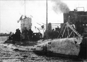 German submarine SM UB-43 in port, 1915–16. Image courtesy U-boats of the Kaiser's Navy, 2002.
